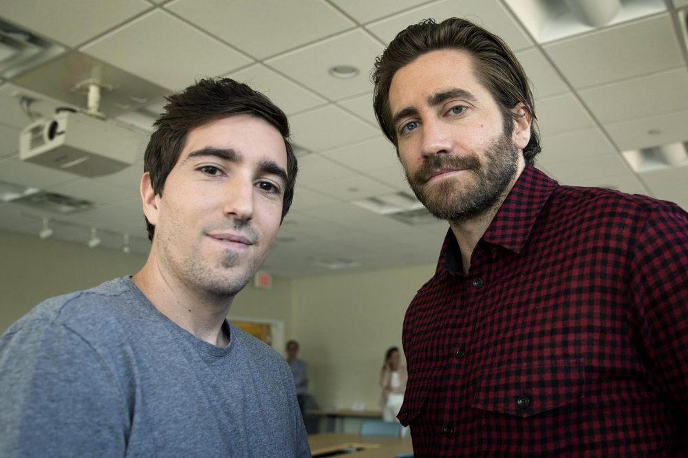 Jeff Bauman and Jake Gyllenhaal at WBUR. (Robin Lubbock/WBUR)