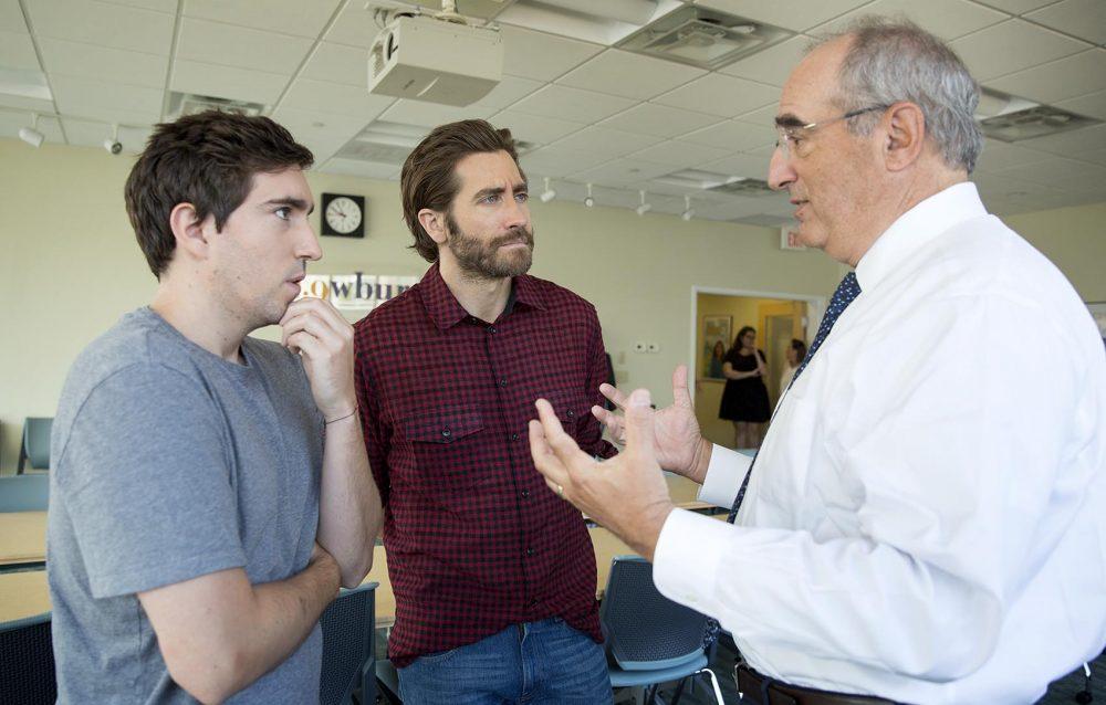 Jeff Bauman, Jake Gyllenhaal and Charlie Kravetz at WBUR. (Robin Lubbock/WBUR)