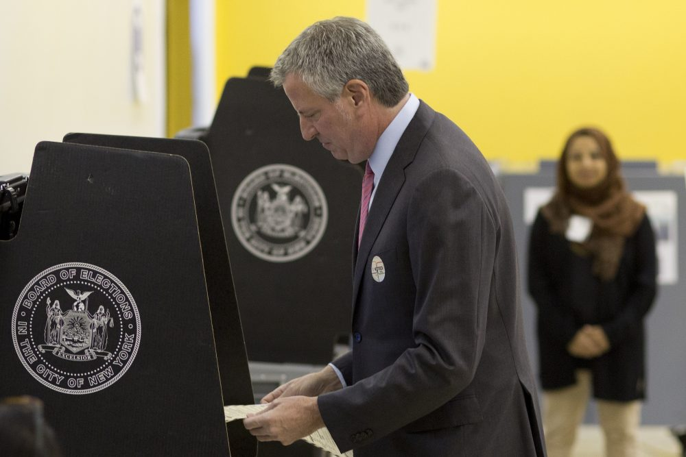 New York Mayor Bill de Blasio votes in the Democratic primary, Tuesday, Sept. 12, 2017 in the Brooklyn borough of New York. The mayor faces a crowded primary field, but no challengers with his organizing power or financial muscle, as he seeks a second term as the leader of the country's largest city. (Mark Lennihan/AP)