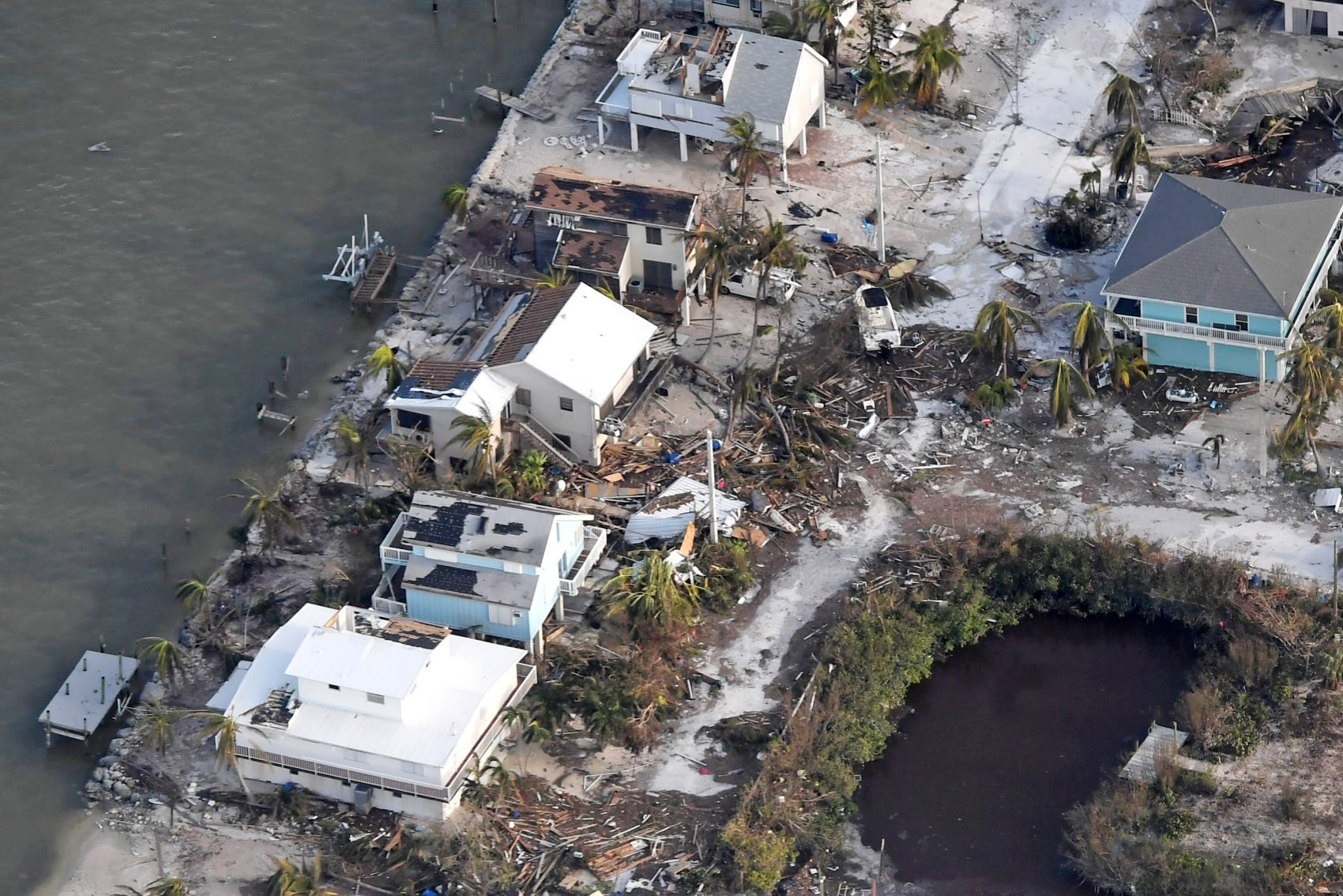 Damaged houses are seen in the aftermath of Hurricane Irma on Sept. 11, 2017 over the Florida Keys, Fla. (Matt McClain -Pool/Getty Images)