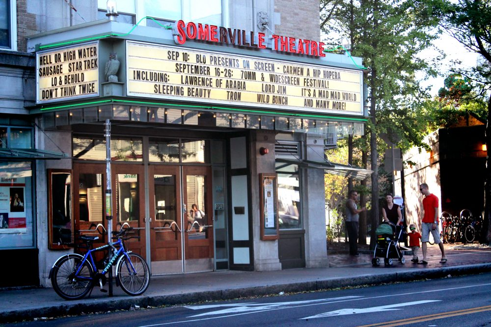 The Somerville Theatre in Davis Square, with dates for last year's 70mm & Widescreen Festival noted in the marquee. (Amy Gorel/WBUR)