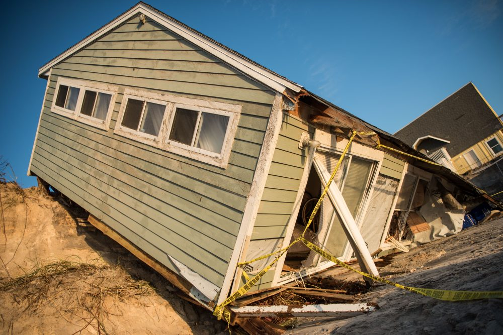 A beachfront home shows damage from Hurricane Irma on Sept. 13, 2017 in Vilano Beach, Fla. (Sean Rayford/Getty Images)