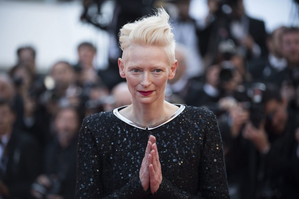 Tilda Swinton poses for photographers upon arrival at the Cannes Film Fest in May 2017. (Arthur Mola/Invision/AP)