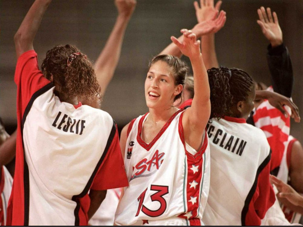 Rebecca Lobo, middle, hadn't seen her 1996 Olympic gold medal since she was 22. So she and her family took a trip to the bank. (Bob Daemmrich/AFP/Getty Images)