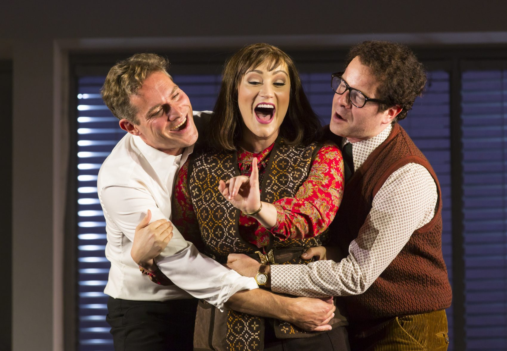 "Mark Umbers, Eden Espinosa and Damian Humbley in ""Merrily We Roll Along."" (Courtesy T. Charles Erikson/Huntington Theatre Company)"