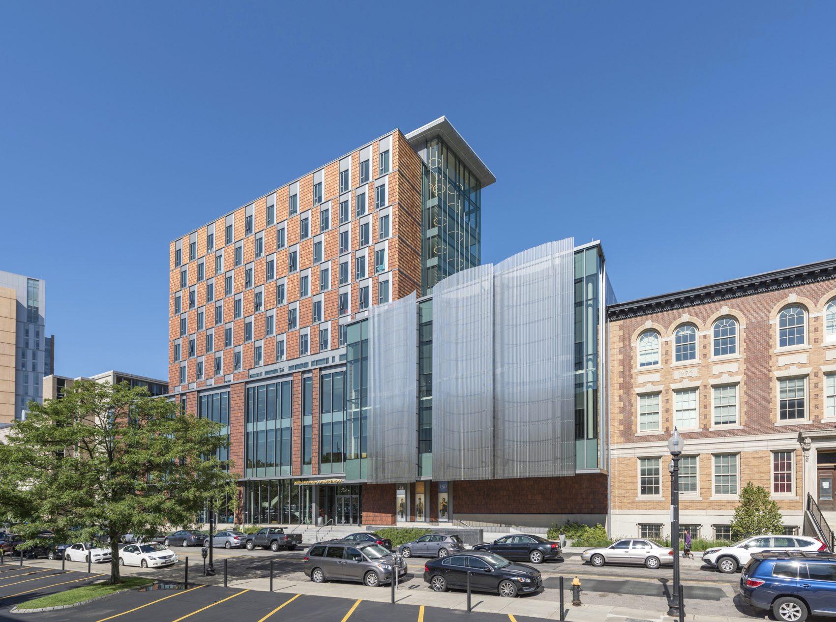 The exterior of NEC's new student center. (Courtesy Peter Vanderwarker)