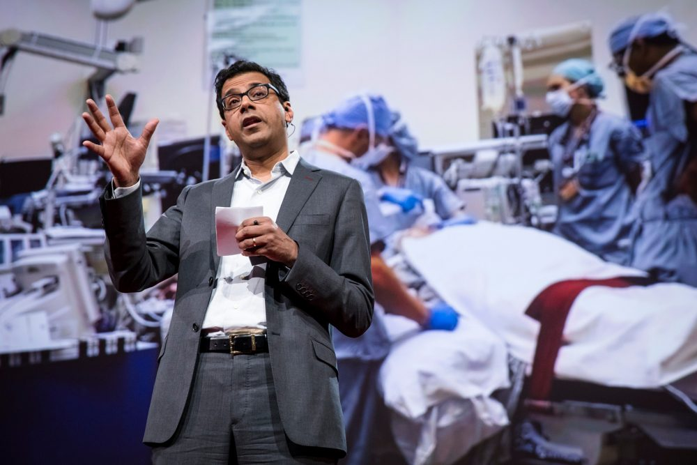 Atul Gawande speaks at TED2017 - The Future You, in April 2017 in Vancouver, B.C., Canada. (Bret Hartman/TED via Flickr Creative Commons)