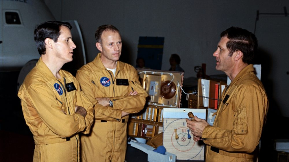 These three men make up the crew of the Skylab 4 mission. They are, left to right, scientist-astronaut Edward G. Gibson, science pilot; astronaut Gerald P. Carr, commander; and astronaut William R. Pogue, pilot. (NASA)