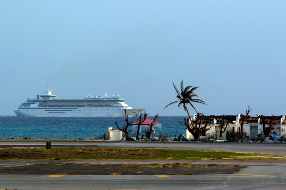 A cruise ship is seen leaving port days after this Caribbean island sustained extensive damage in the wake of Hurricane Irma, Friday, Sept. 15, 2017 in St. Martin. (Ricardo Arduengo/AFP/Getty Images)