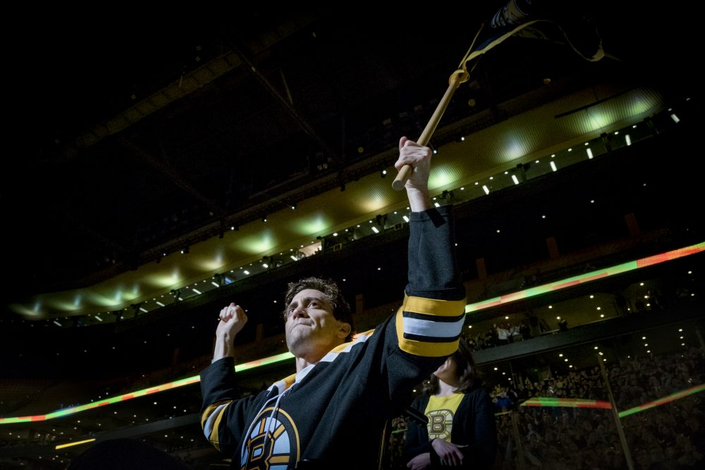 "Jake Gyllenhaal in a still from ""Stronger,"" as Jeff Bauman attending a Boston Bruins game after the Boston Marathon bombing. (Scott Garfield/Courtesy of Lionsgate and Roadside Attractions)"