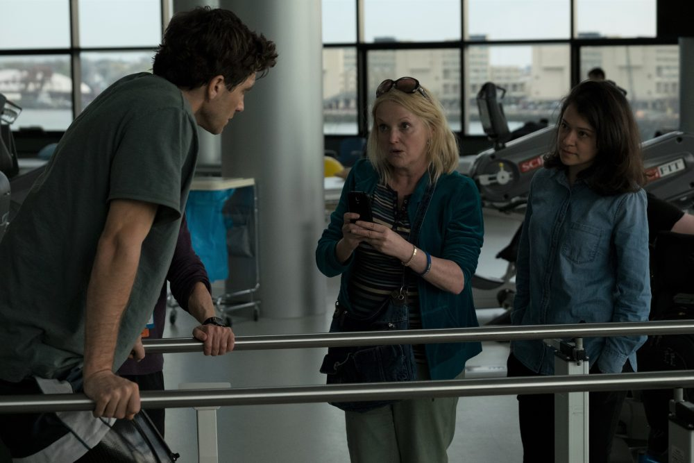 "Jake Gyllenhaal, Miranda Richardson and Tatiana Maslany in a still from ""Stronger."" (Scott Garfield/Courtesy of Lionsgate and Roadside Attractions)"