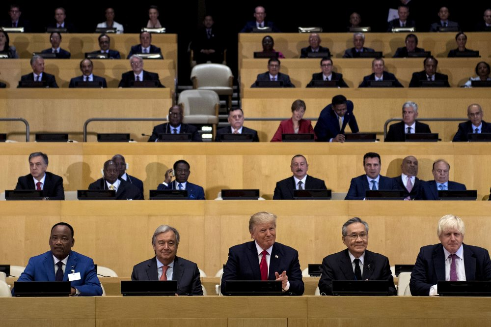 U.N. Secretary-General Antonio Guterres (center left) and President Trump (center) sit with other representatives before a meeting on United Nations Reform at the U.N. headquarters on Sept. 18, 2017 in New York City. (Brendan Smialowski/AFP/Getty Images)
