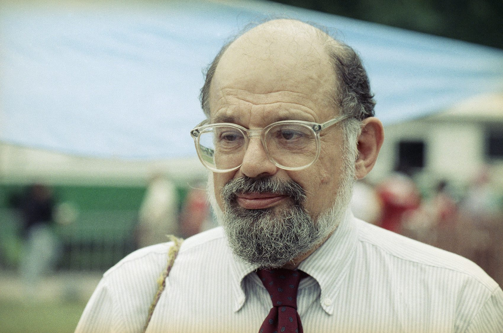 Allen Ginsberg on Car Front At Night