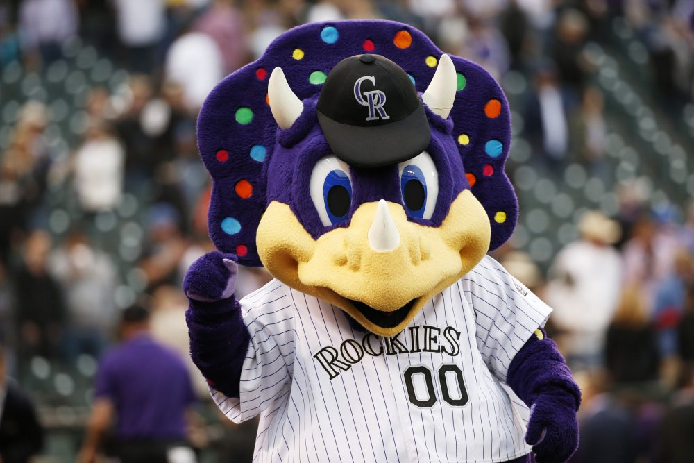 Dinger, the Colorado Rockies mascot, cheers following a baseball game on opening day against the Chicago Cubs, Friday, April 10, 2015, in Denver. (Jack Dempsey/AP)