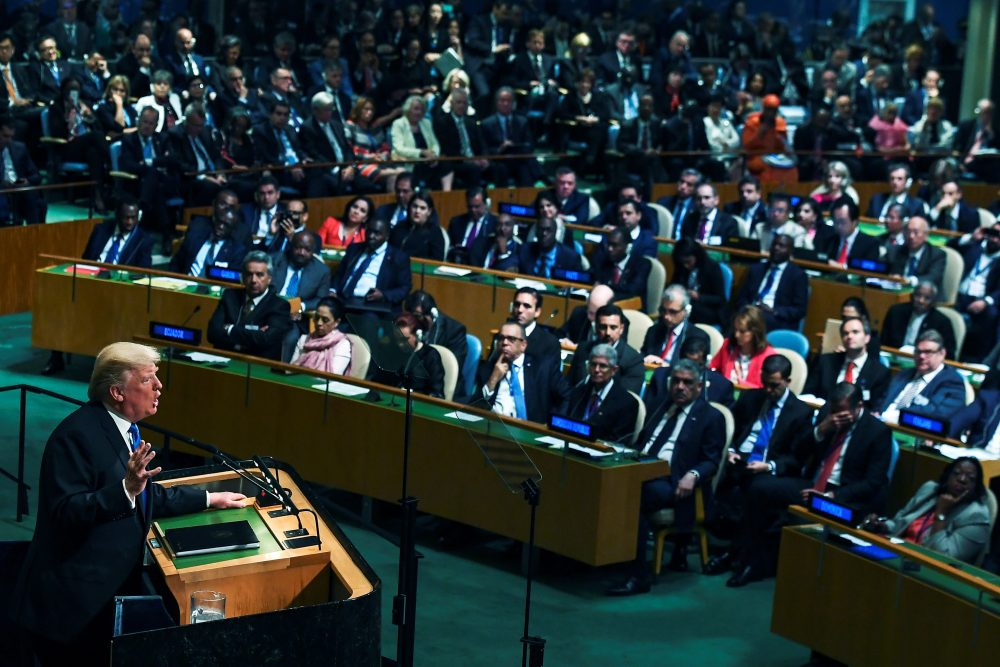 President Trump addresses the 72nd Annual U.N. General Assembly in New York on Sept. 19, 2017. (Jewel Samad/AFP/Getty Images)