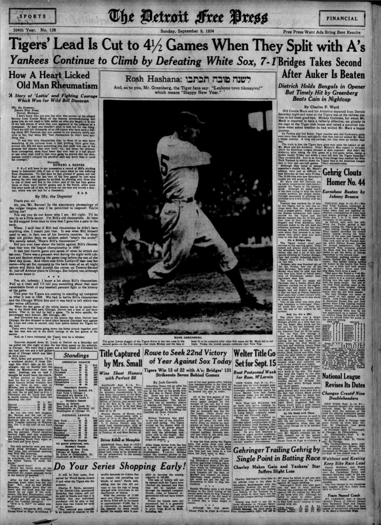 Hank Greenberg Caught Between Baseball And His Religion Only A Game
