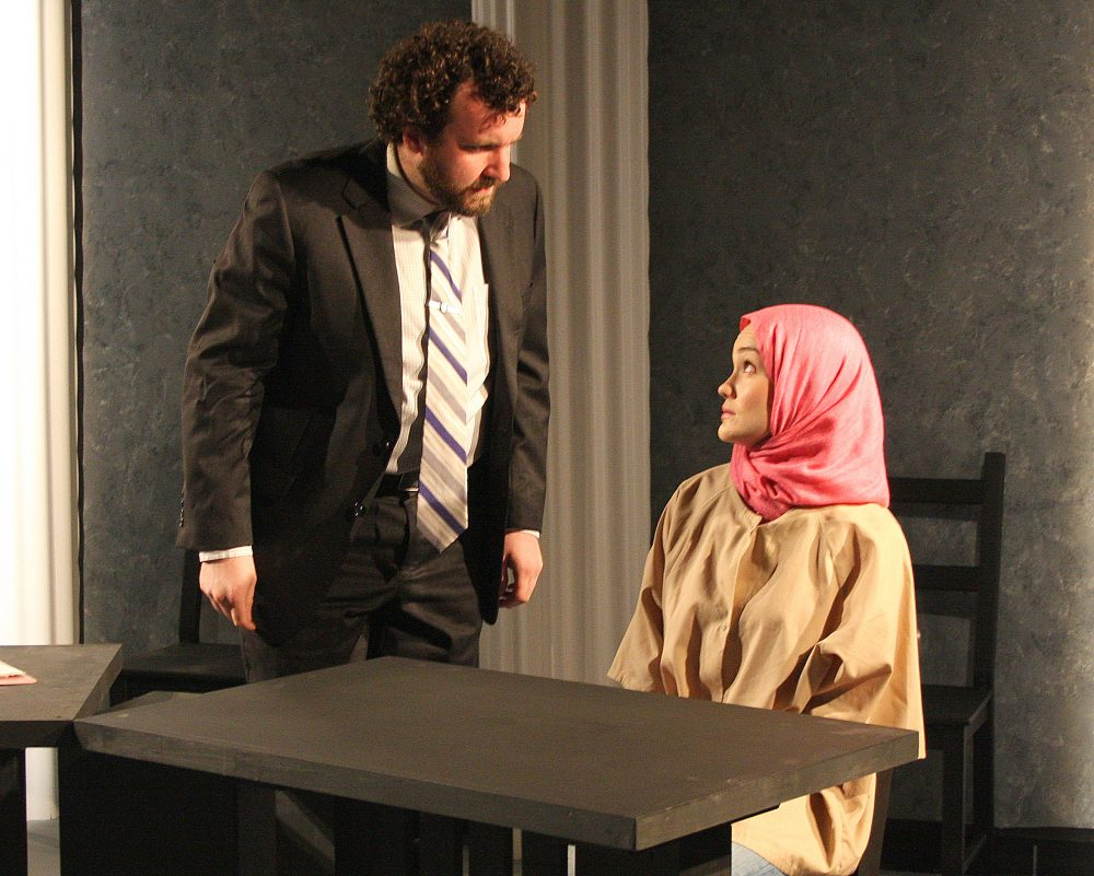 "Robert Orzalli (Mark) and Ashley Risteen (Susie) in ""Faceless."" (Courtesy Richard Hall/Silverline Images)"
