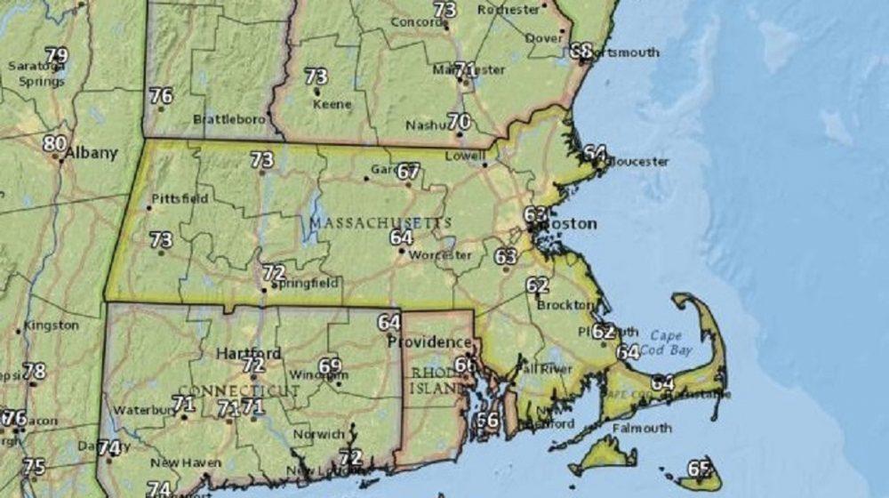 Highs on Thursday across Massachusetts. (Courtesy National Weather Service)