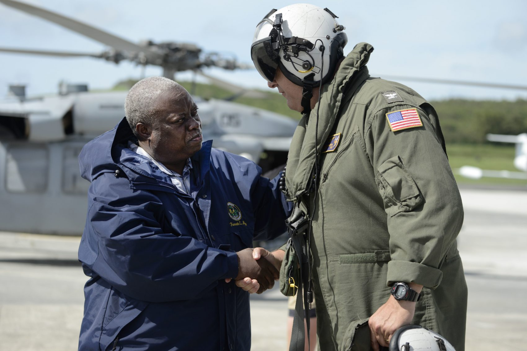 U.S. Virgin Islands Gov. Kenneth Mapp arrives at the Charles F. Blair National Guard Hangar after flying over St. Thomas, one of the islands hit by Hurricane Irma in St. Croix, Friday, Sept. 8, 2017. (Carlos Giusti/AP)