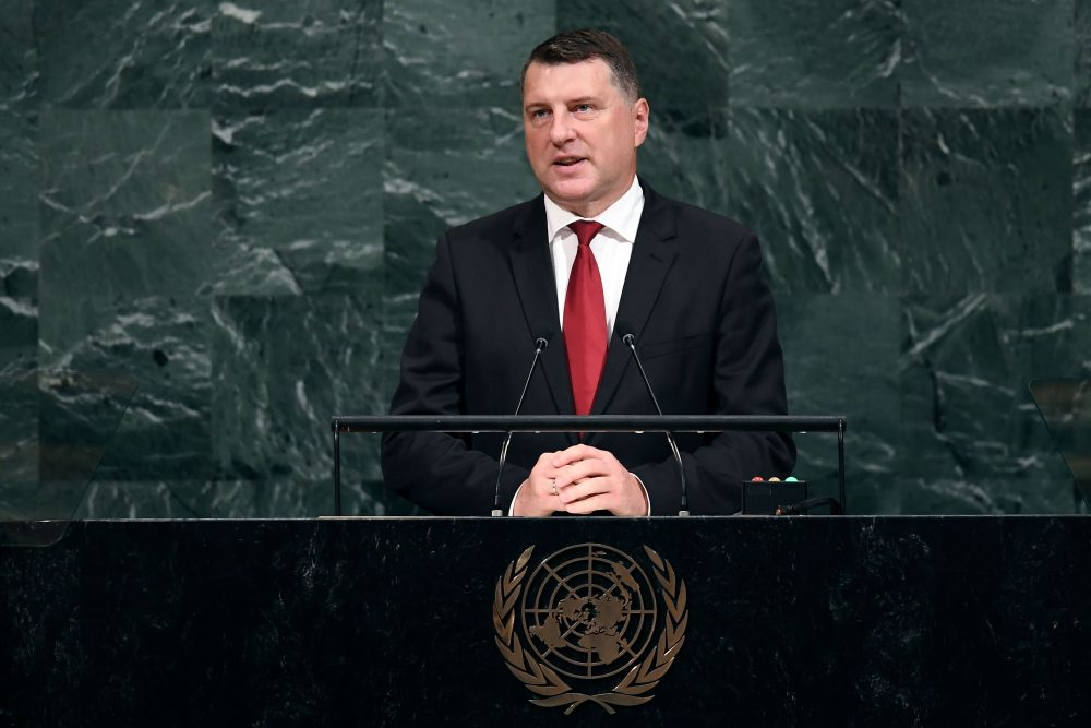 Latvia's President Raimonds Vejonis addresses the 72nd Session of the U.N. General Assembly at the United Nations, in New York on Sept. 20, 2017. (Jewel Samad/AFP/Getty Images)