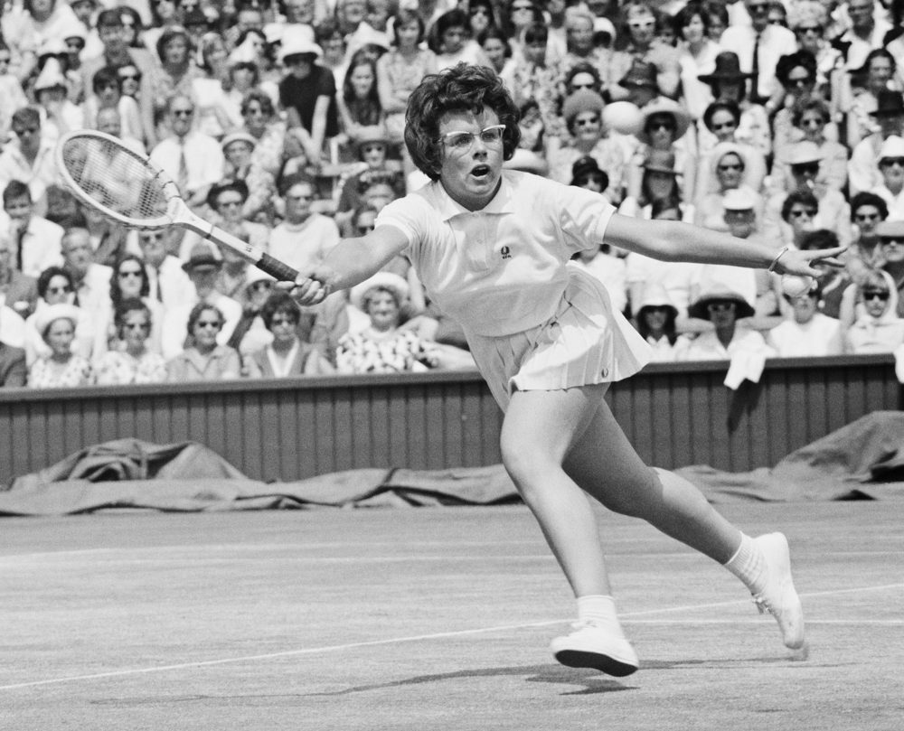 "Actress Emma Stone plays tennis legend Billie Jean King (pictured above) in a new movie about the 1973 ""Battle of the Sexes."" (Dennis Oulds/Central Press/Getty Images)"