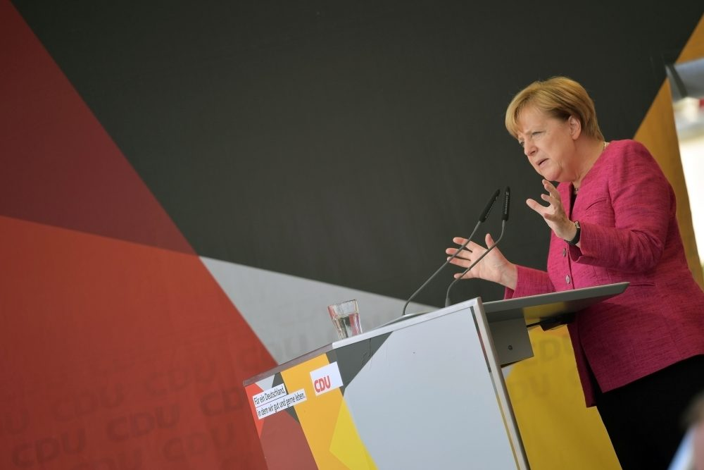 German Chancellor and Christian Democrat (CDU) Angela Merkel speaks at a CDU election campaign stop on Sept. 22, 2017, in Heppenheim, Germany. Germans will go to the polls this coming Sunday and Merkel currently has a double-digit lead over her rivals, though the final election outcome remains uncertain as a significant percentage of voters have so far remained undecided.  (Thomas Lohnes/Getty Images)