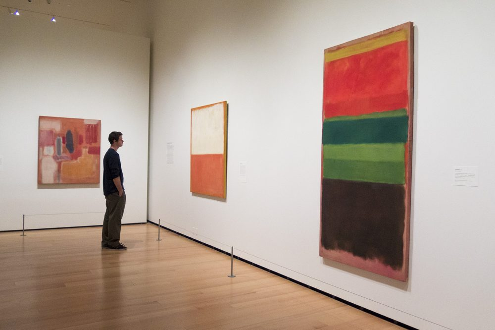The MFA invites visitors to engage with works by Rothko and other artists for one minute. Most people only spend two or three seconds with art works in museums. (Andrea Shea/WBUR)