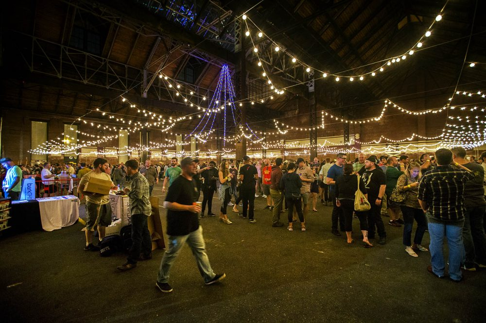The scene at the Copenhagen Beer Festival during the final session Saturday night. (Jesse Costa/WBUR)