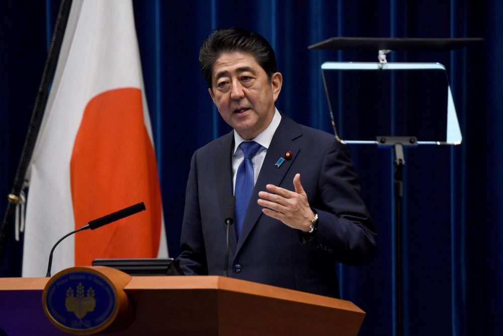 Japan's Prime Minister Shinzo Abe gestures as he speaks during a press conference at his official residence in Tokyo on Sept. 25, 2017. Abe called a snap election, hoping to capitalize on rising support as tensions with nearby North Korea reach fever pitch. (Toru Yamanaka/AFP/Getty Images)