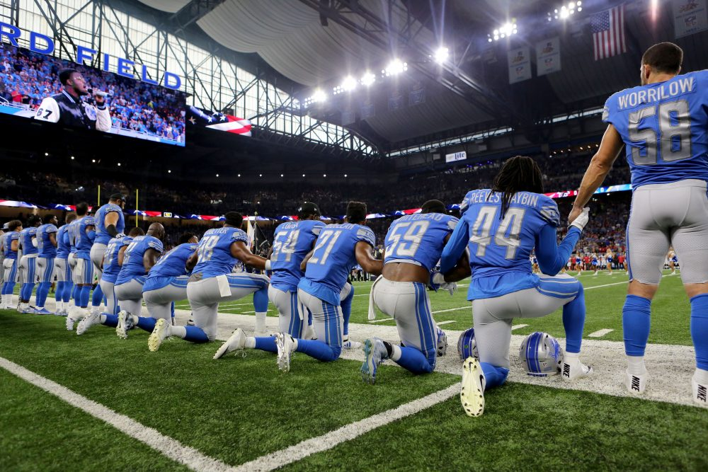 Members of  the Detroit Lions take a knee during the playing of the national anthem prior to the start of the game against the Atlanta Falcons at Ford Field on Sept. 24, 2017, in Detroit. (Rey Del Rio/Getty Images)
