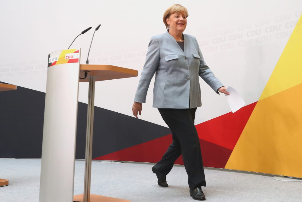 German Chancellor and Christian Democrat (CDU) Angela Merkel arrives at CDU headquaters to speak to the media the day after the CDU won 32.9 percent of the vote and a first-place finish in Sunday's German federal elections on Sept. 25, 2017, in Berlin. (Alexander Hassenstein/Getty Images)