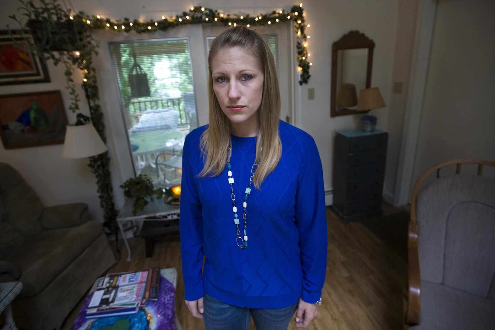 Julie Eldred at her home. (Jesse Costa/WBUR)