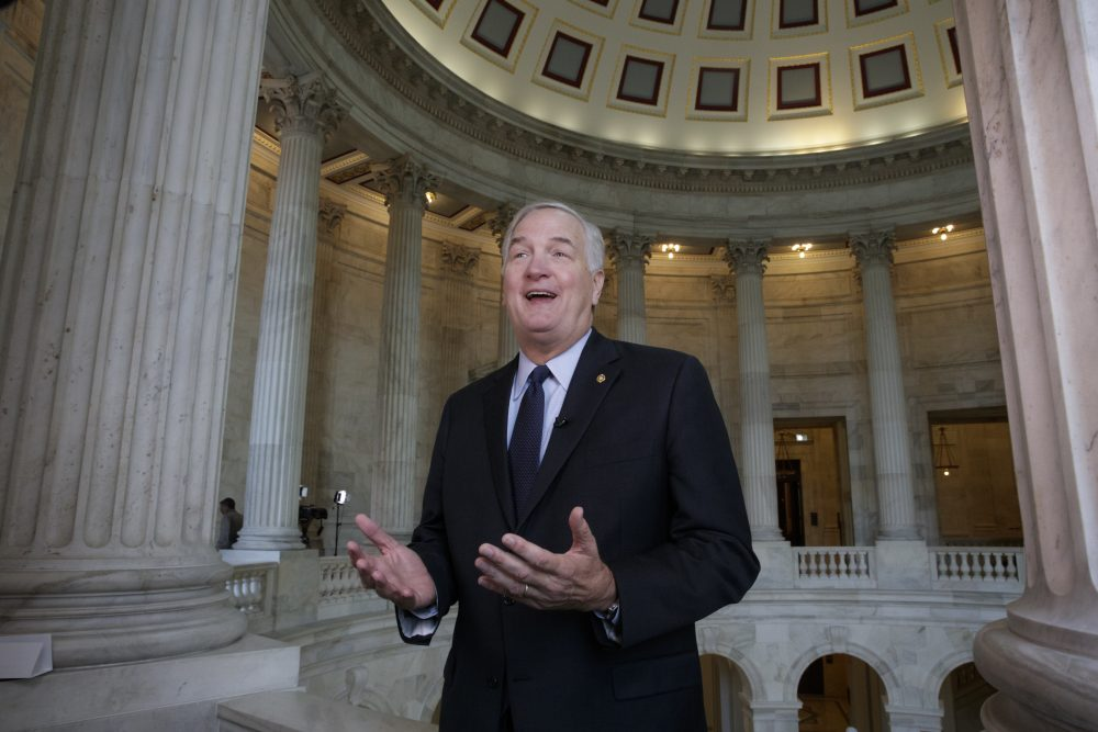 In this March 3, 2017 file photo, Sen. Luther Strange, R-Ala., who replaced Attorney General Jeff Sessions in the Senate, does a TV interview on Capitol Hill in Washington. (J. Scott Applewhite, file/AP)