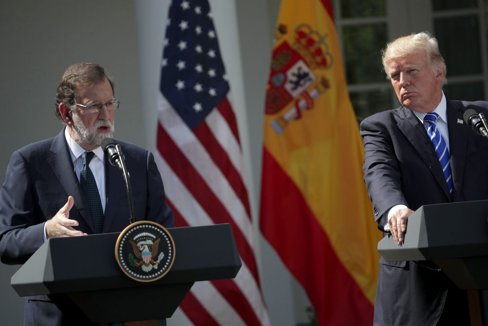 President Trump and Spanish Prime Minister Mariano Rajoy participate in a joint news conference in the Rose Garden of the White House Sept. 26, 2017, in Washington, D.C. (Alex Wong/Getty Images)