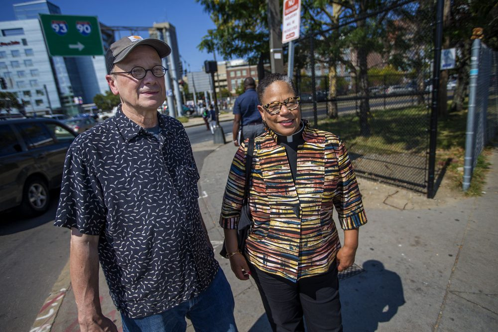 Jim Stewart, with the First Church shelter in Cambridge, and the Rev. June Cooper, of the anti-poverty group City Mission, argue the city's investment in the center as a way to address the opioid epidemic is misguided. (Jesse Costa/WBUR)