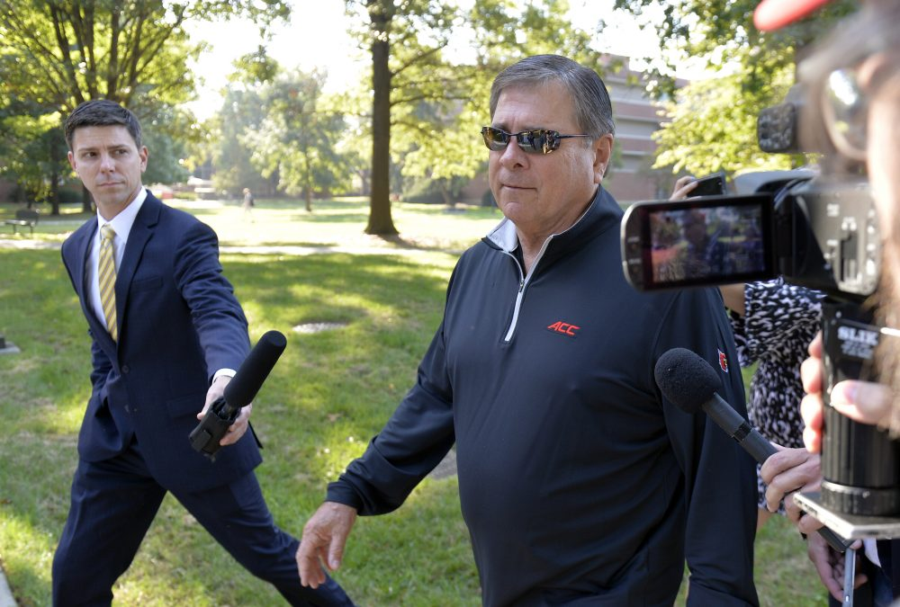 University of Louisville Athletic Director Tom Jurich arrives at the university's administration building for a meeting, Wednesday, Sept. 27, 2017, in Louisville, Ky. (Timothy D. Easley/AP)
