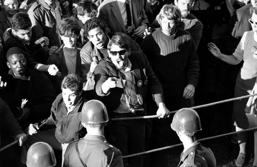 Military police face screaming anti-Vietnam War demonstrators at the Pentagon in Washington, D.C. on Oct. 21, 1967. (AP)