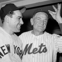 Casey Stengel, right, played in the majors for 14 years and managed for another 25. (AP Photo/Marty Lederhandler, File/AP)