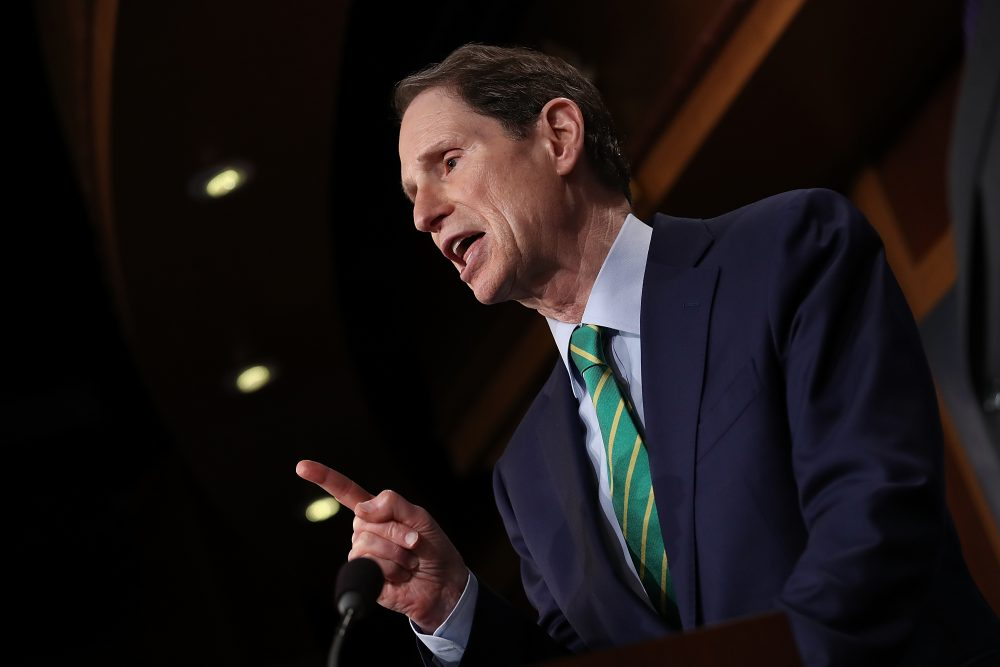 Sen. Ron Wyden (D-Ore.) answers questions on the recently released Republican tax overhaul plan on Sept. 27, 2017, in Washington, D.C. (Win McNamee/Getty Images)