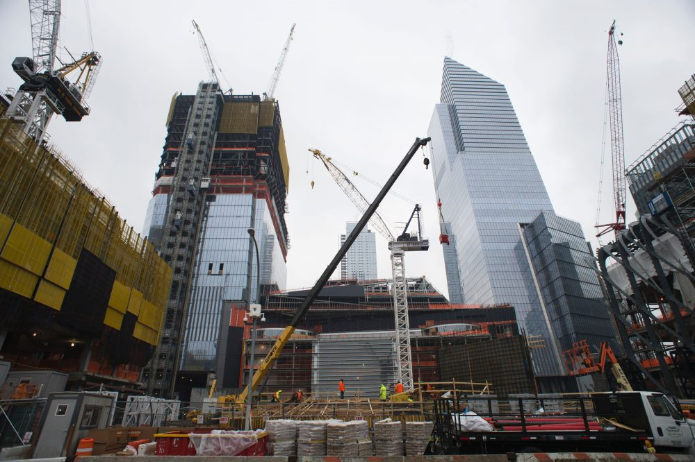 Construction cranes tower over the large-scale redevelopment program, Hudson Yards, on Feb. 7, 2017 in New York. (Don Emmert/AFP/Getty Images)