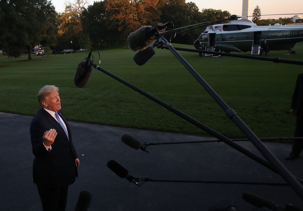 President Trump speaks to the media after arriving back at the White House on Marine One Sept. 27, 2017, in Washington, D.C. President Trump traveled to Indianapolis, Indiana to unveil his administration's tax overhaul plan. (Mark Wilson/Getty Images)