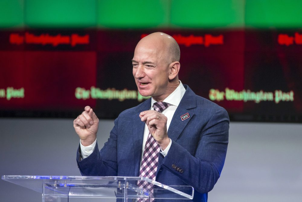 In this Jan. 28, 2016, file photo, billionaire Amazon founder and Washington Post owner Jeff Bezos speaks in Washington. (J. Scott Applewhite/AP)