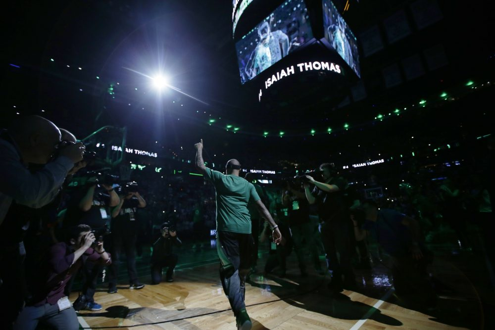 Boston Celtics guard Isaiah Thomas is introduced at Game 1 of the NBA basketball Eastern Conference finals, in Boston, Wednesday, May 17, 2017. (Stephan Savoia/AP)