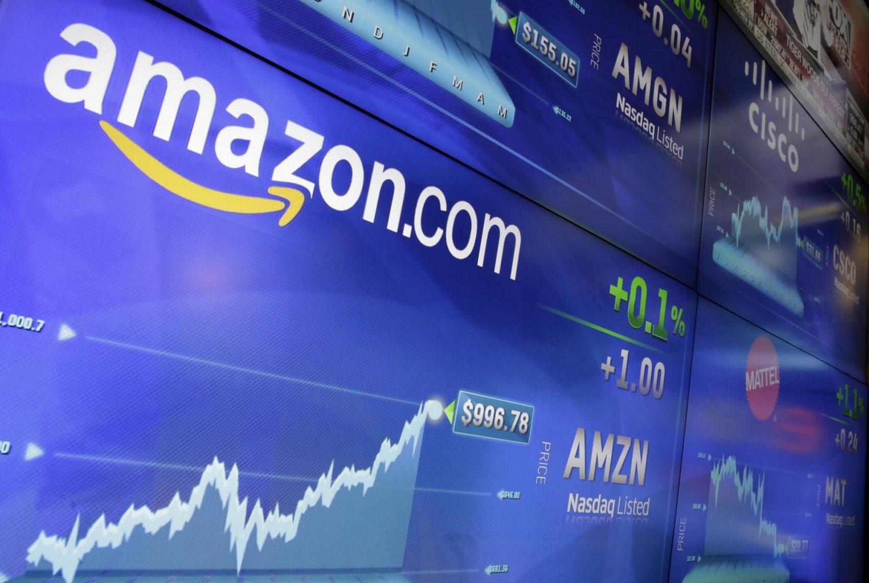 The Amazon logo is displayed at the Nasdaq MarketSite in New York's Times Square. (Richard Drew/AP File)