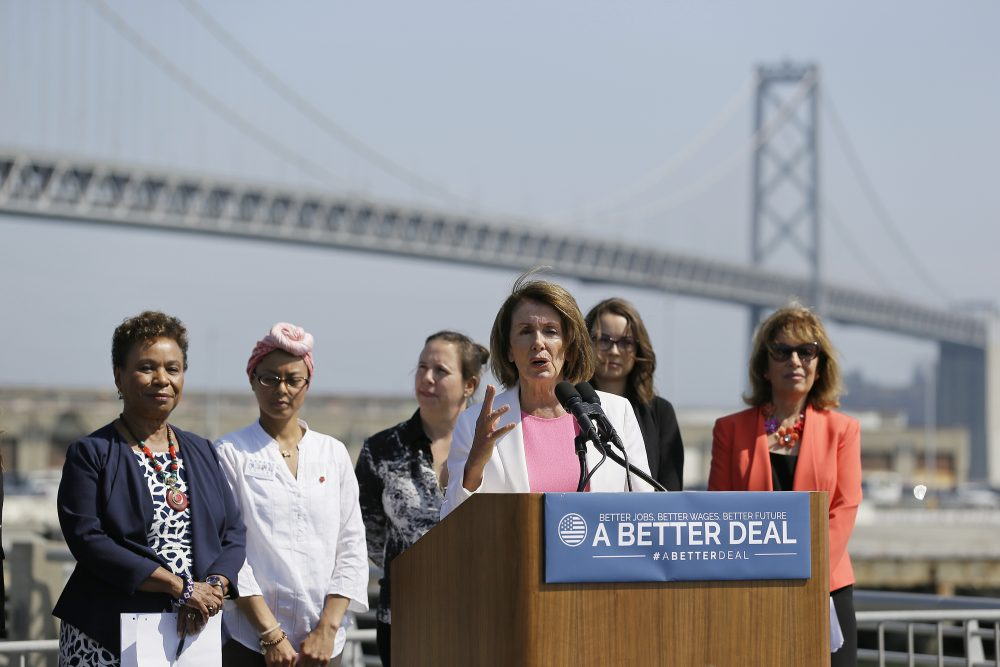 "House Minority Leader Nancy Pelosi speaks during an event to commemorate Women's Equality Day Tuesday, Aug. 22, 2017, in San Francisco. The event also celebrated the launch of the Democrats' economic agenda, ""A Better Deal: Better Wages, Better Future."" Looking on at left is Congresswoman Barbara Lee and at right is Congresswoman Jackie Speier. (Eric Risberg/AP)"