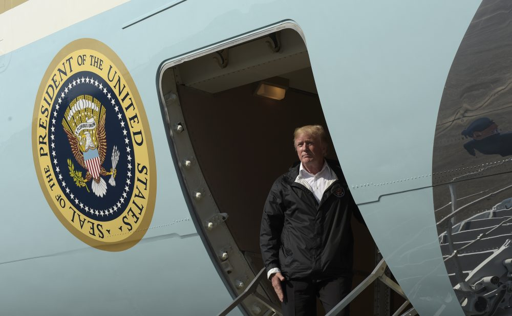 President Donald Trump boards Air Force One at Chennault International Airport in Lake Charles, La., following a visit with first responders to Hurricane Harvey, Saturday, Sept. 2, 2017. (Susan Walsh/AP)