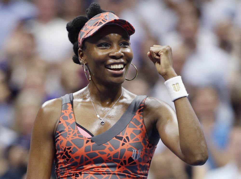 Venus Williams, of the United States, celebrates after defeating Petra Kvitova, of the Czech Republic, 6-3, 3-6, 7-6 (2) in a quarterfinal at the U.S. Open tennis tournament in New York, Tuesday, Sept. 5, 2017. (AP Photo/Kathy Willens)