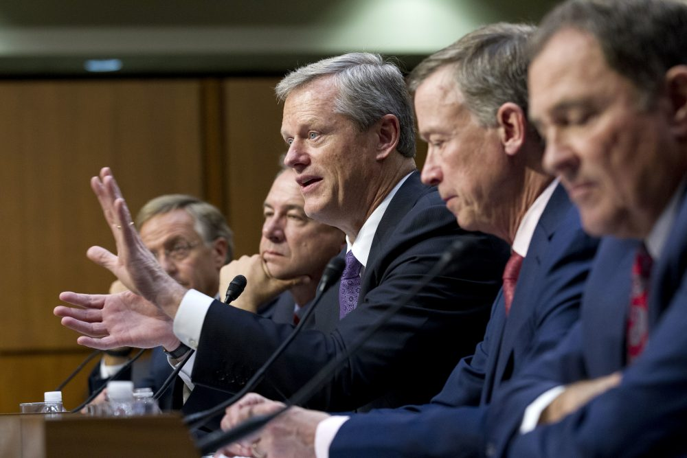 Massachusetts Gov. Charlie Baker, accompanied by from left by the governors of Tennessee, Montana, Colorado and Utah, speaks Thursday at a Senate committee hearing on ways to stabilize health insurance markets​. (Jose Luis Magana/AP)