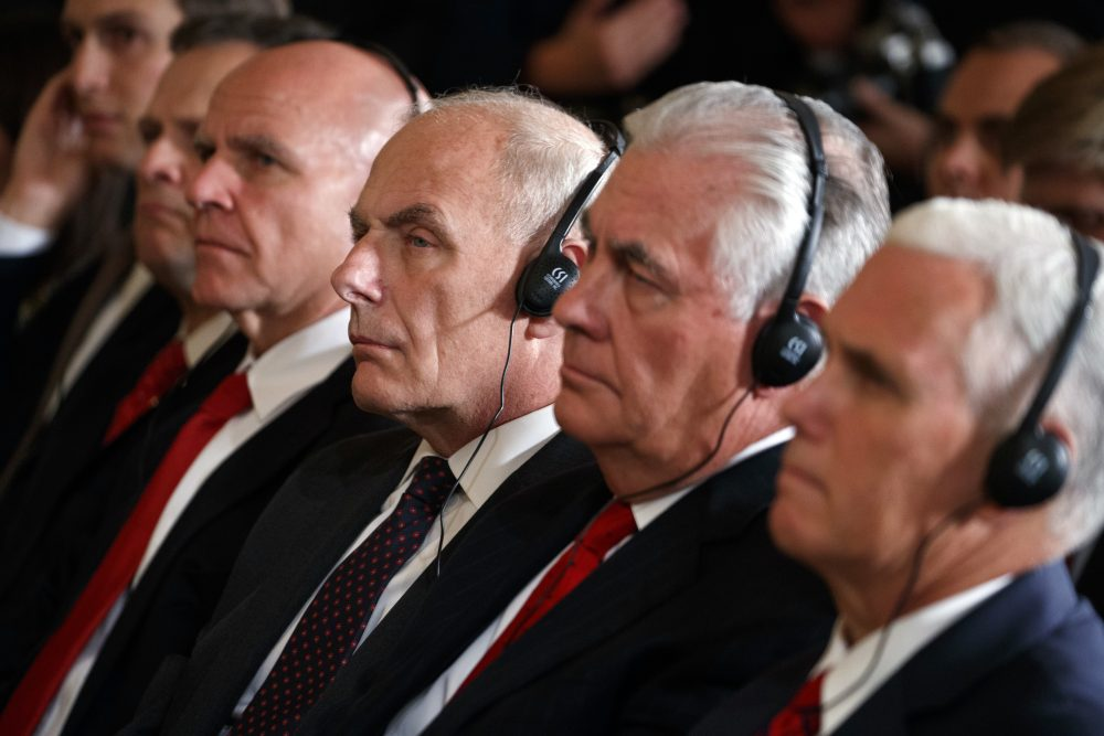 White House Chief of Staff John Kelly, third from right, listens during a news conference with President Donald Trump and Emir of Kuwait Sheikh Sabah Al Ahmad Al Sabah in the East Room of the White House, Thursday, Sept. 7, 2017, in Washington. Also listening is Vice President Mike Pence, right, and Secretary of State Rex Tillerson. (Evan Vucci/AP)