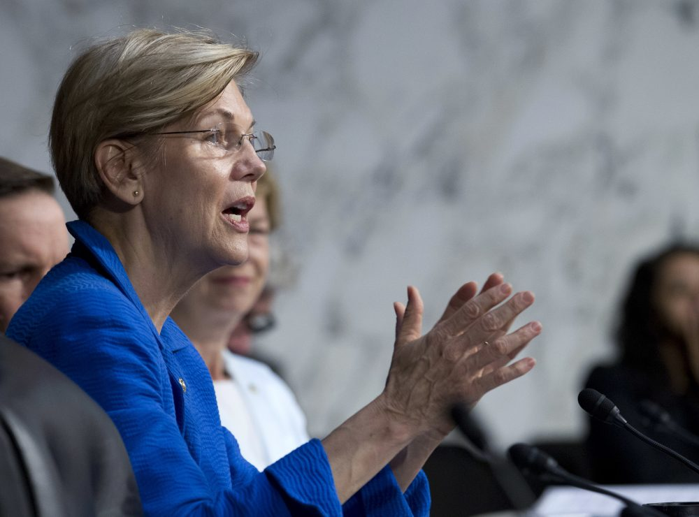 Sen. Elizabeth Warren, D-Mass., speaks to governors Thursday at the Senate Health, Education, Labor, and Pensions Committee during a hearing on ways to stabilize health insurance markets​. (Jose Luis Magana/AP)